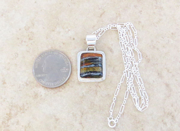 Image 1 of    Native American Mammoth Tooth Stone & Sterling Silver Pendant - 2987sn