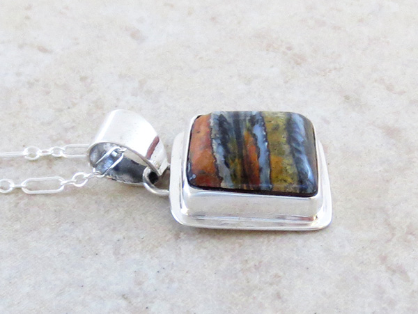 Image 2 of    Native American Mammoth Tooth Stone & Sterling Silver Pendant - 2987sn