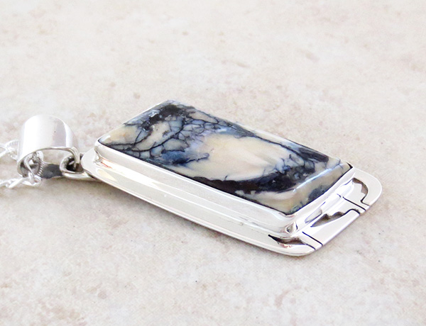 Image 2 of Mammoth Tooth Stone & Sterling Silver Pendant Navajo - 4501sn