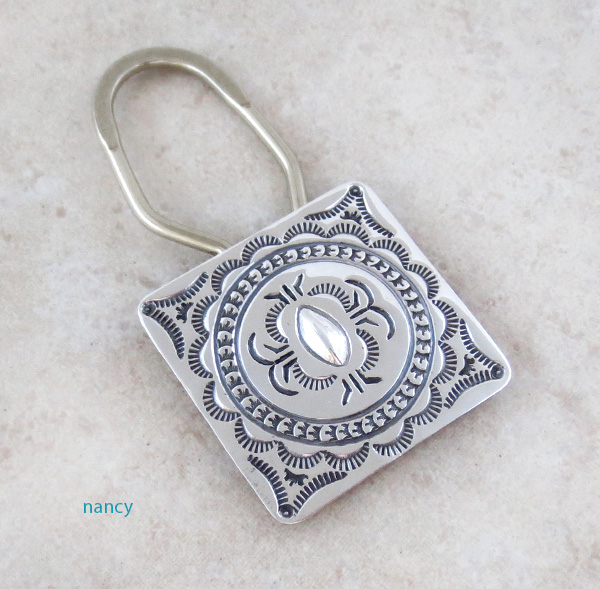 Image 0 of          Sterling Silver Handcrafted Stamped Key Ring Native American - 4386sn
