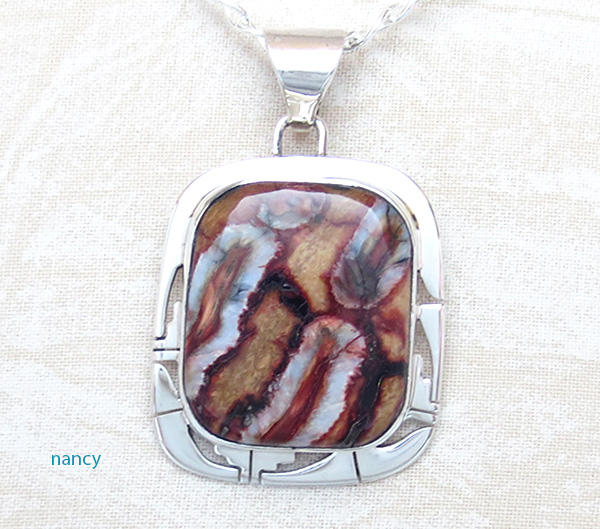 Large Native American Mammoth Tooth Stone & Sterling Silver Pendant - 4157sn