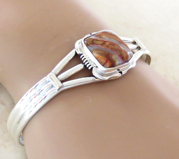 Image 1 of    Navajo Ancient Mammoth Tooth Stone & Sterling Silver Bracelet - 4502sn