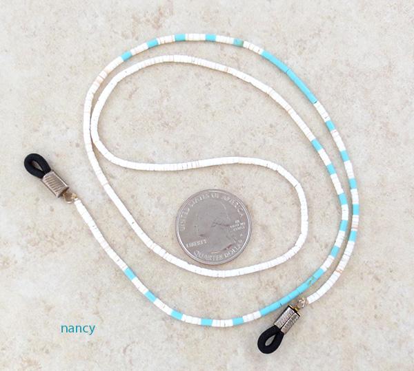 Turquoise & Heishi Eyeglass Chain Native American Made - 4503rio