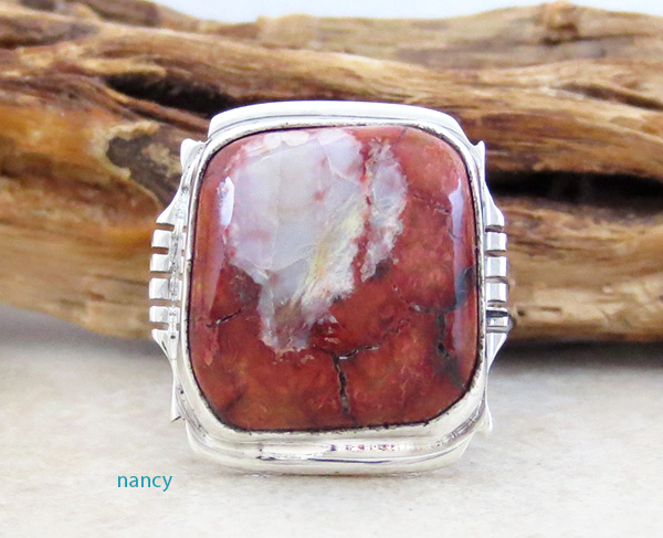 Image 0 of    Mammoth Tooth Stone & Sterling Silver Ring Size 8.75 Native American - 4392sn