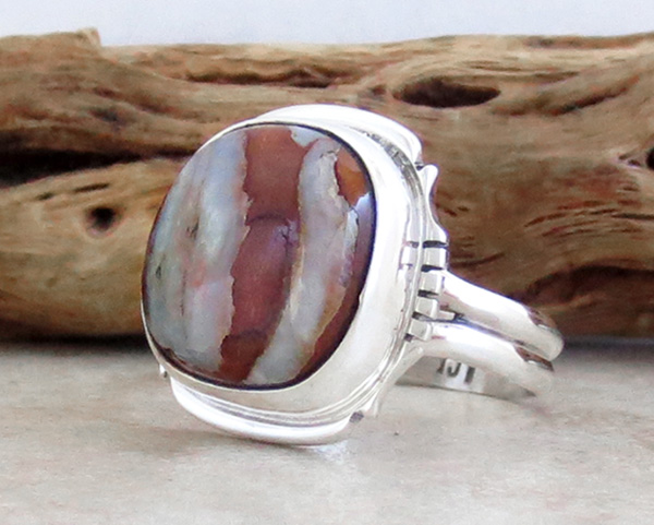 Image 2 of       Navajo Made Mammoth Tooth Stone & Sterling Silver Ring Size 8 - 4162sn