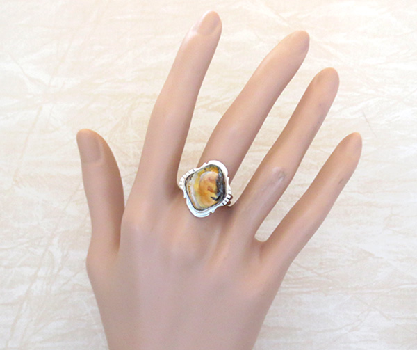 Image 4 of   Mammoth Tooth Stone & Sterling Silver Ring Size 9 Native American - 4506sn