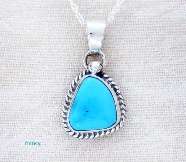 Small Sleeping Beauty Turquoise & Sterling Silver Pendant Navajo - 3992sn
