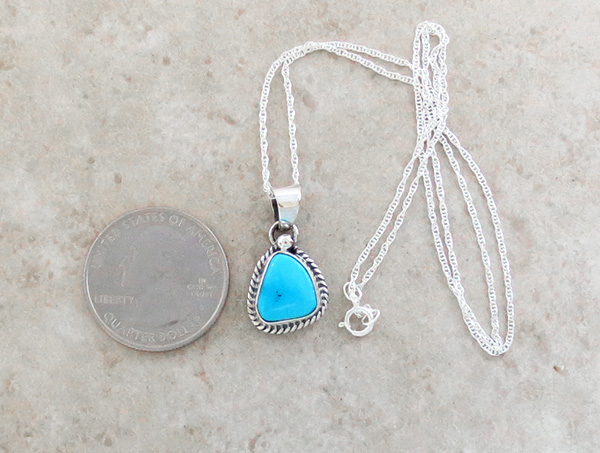 Image 1 of     Small Sleeping Beauty Turquoise & Sterling Silver Pendant Navajo - 3992sn