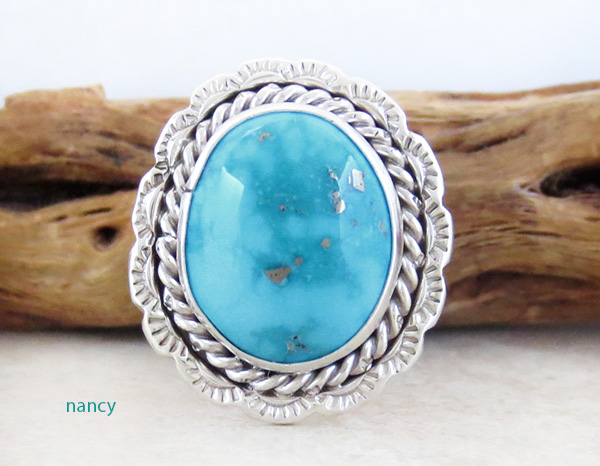 Image 0 of Turquoise & Sterling Silver Ring size 10.5 Native American - 2981pl