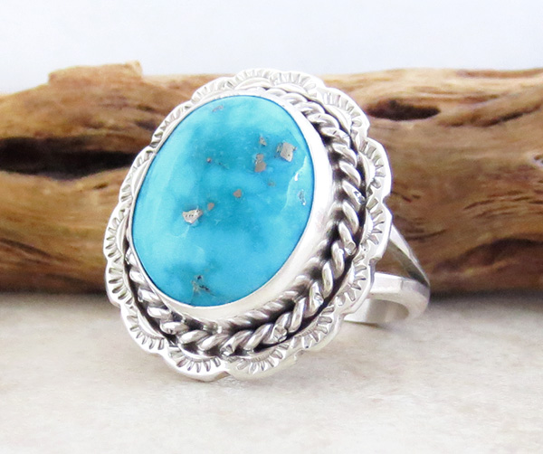 Image 2 of Turquoise & Sterling Silver Ring size 10.5 Native American - 2981pl