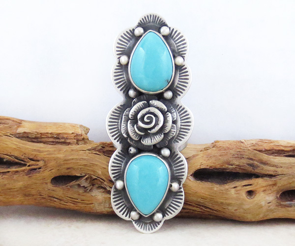 Big Native American Turquoise Flower & Sterling Silver Ring Size 7 - 2983sw