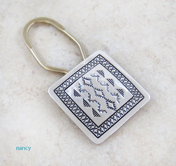 Sterling Silver Handcrafted Stamped Key Ring Native American - 3991sn