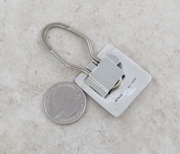 Image 1 of Sterling Silver Handcrafted Stamped Key Ring Native American - 3991sn