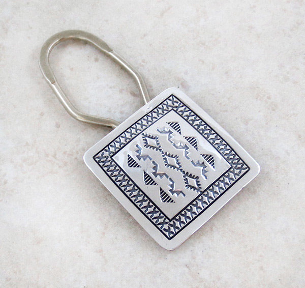 Image 0 of      Sterling Silver Handcrafted Stamped Key Ring Native American - 3991sn