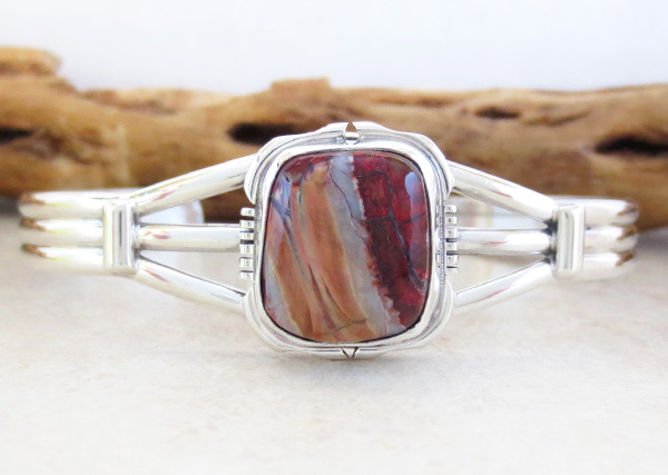 Image 0 of  Ancient Mammoth Tooth Stone & Sterling Silver Bracelet Native American - 4387sn