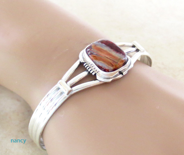 Image 1 of  Ancient Mammoth Tooth Stone & Sterling Silver Bracelet Native American - 4387sn