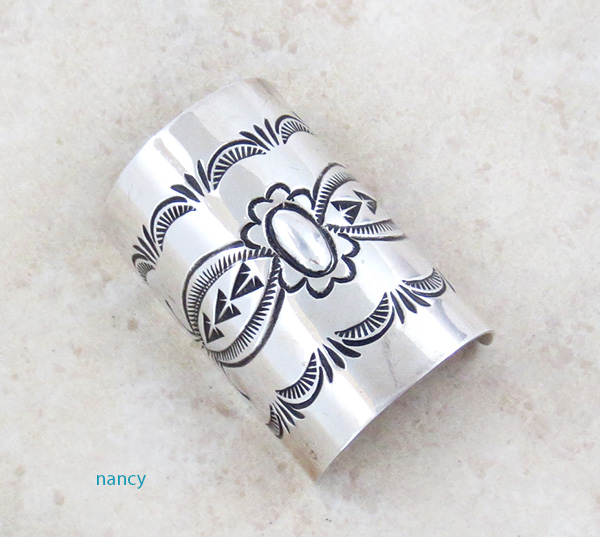 Stamped Sterling Silver Pony Tail Holder / Cover Native American - 4395rio
