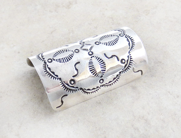 Image 1 of     Stamped Sterling Silver Pony Tail Holder / Cover Native American - 4267rio