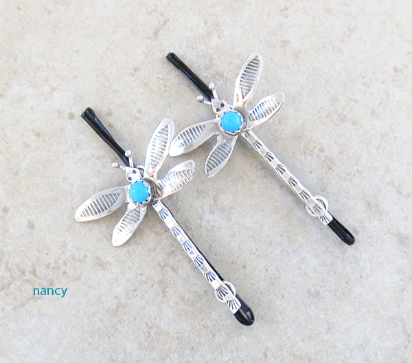 Handcrafted Stamped Sterling Silver Dragonfly Bobby Pins - 4806sw
