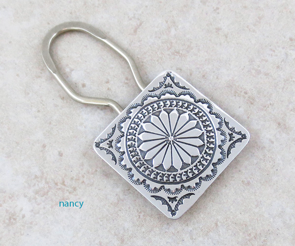 Handcrafted Stamped Sterling Silver Key Ring / Keychain Navajo - 4805sn