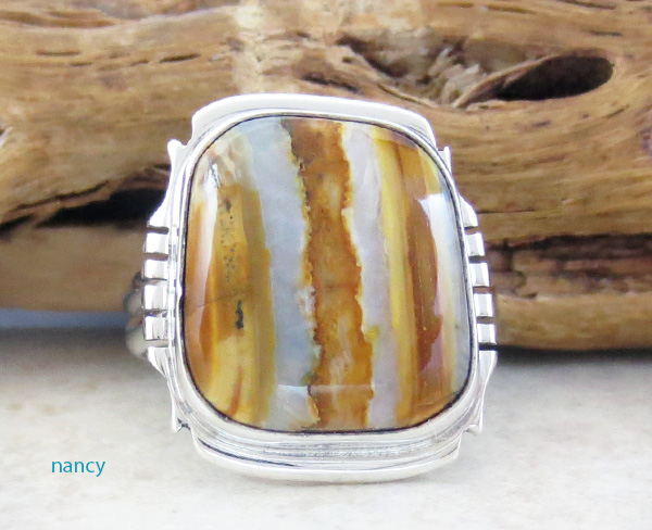 Mammoth Tooth Stone & Sterling Silver Ring Size 7.75 Navajo Made - 4802sn