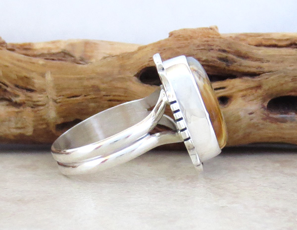 Image 1 of   Mammoth Tooth Stone & Sterling Silver Ring Size 7.75 Navajo Made - 4802sn