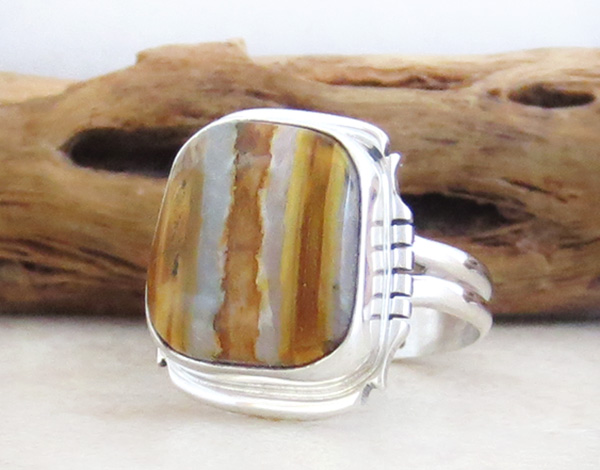Image 2 of   Mammoth Tooth Stone & Sterling Silver Ring Size 7.75 Navajo Made - 4802sn