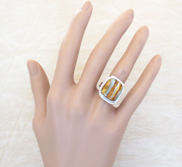 Image 4 of   Mammoth Tooth Stone & Sterling Silver Ring Size 7.75 Navajo Made - 4802sn