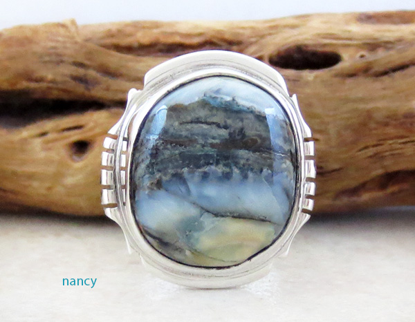 Ancient Mammoth Tooth Stone & Sterling Silver Ring Size 7.5 Navajo - 4265sn
