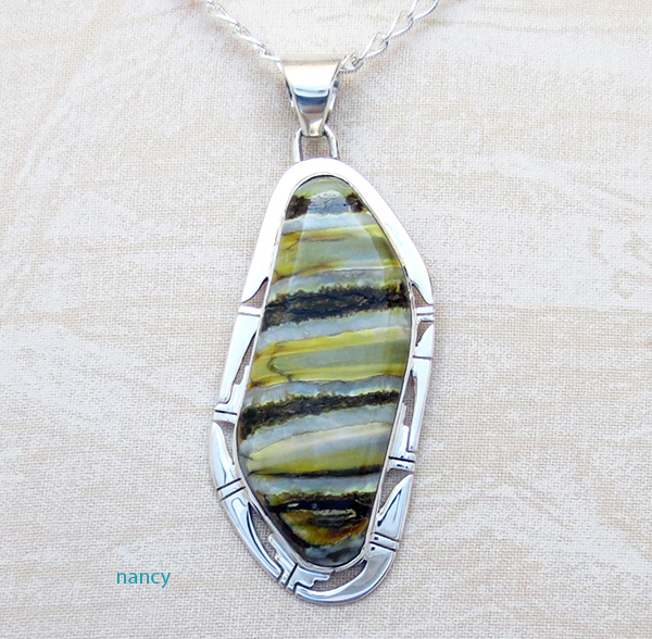 Image 0 of    Big Native American Mammoth Tooth Stone & Sterling Silver Pendant - 4395sn
