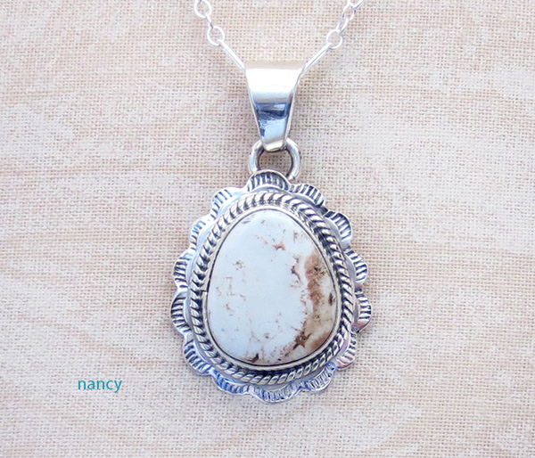 Image 0 of    Small Dry Creek Turquoise & Sterling Silver Pendant Native American - 3994rio