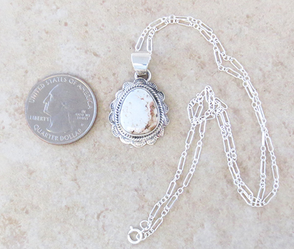 Image 1 of    Small Dry Creek Turquoise & Sterling Silver Pendant Native American - 3994rio