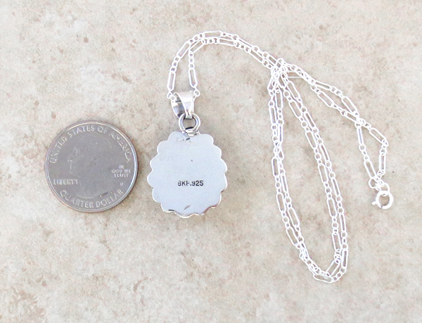 Image 3 of    Small Dry Creek Turquoise & Sterling Silver Pendant Native American - 3994rio