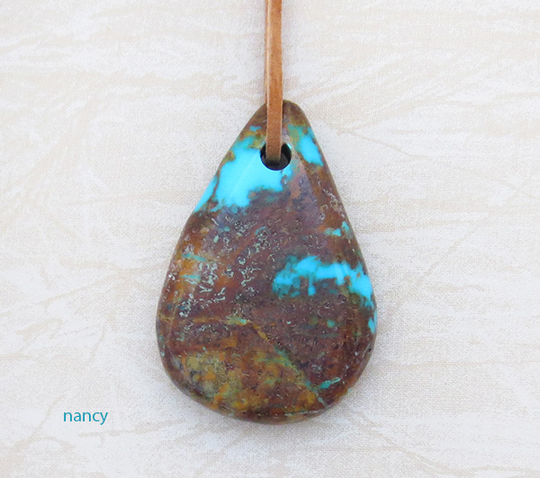 Image 0 of         BIG Turquoise Pendant w/Cord Native American Jewelry - 4396sw