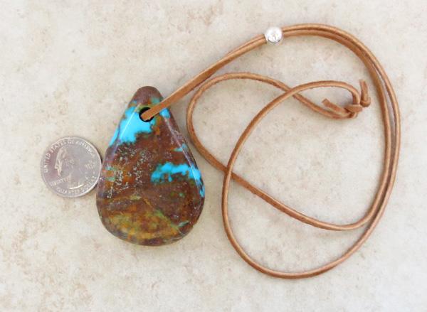 Image 1 of   BIG Turquoise Pendant w/Cord Native American Jewelry - 4396sw