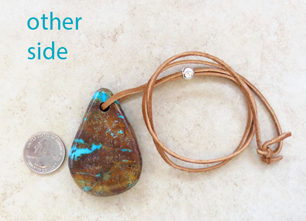 Image 3 of         BIG Turquoise Pendant w/Cord Native American Jewelry - 4396sw