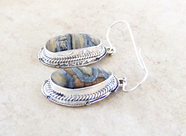 Image 1 of Navajo Ancient Mammoth Tooth & Sterling Silver Earrings - 4801sn