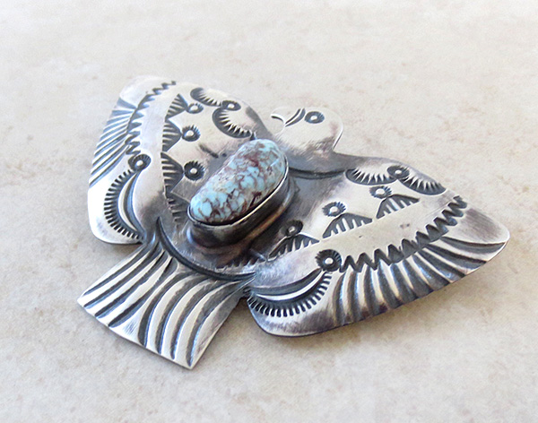 Image 3 of Large Dry Creek Turquoise & Sterling Silver Thunderbird Pendant Navajo- 4268sw