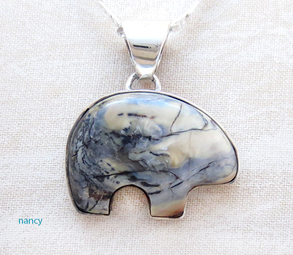 Native American Mammoth Tooth Stone & Sterling Silver Bear Pendant - 4509sn