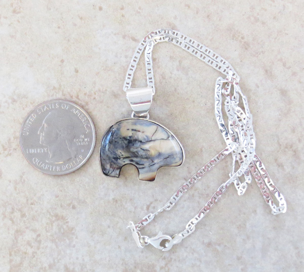 Image 1 of Native American Mammoth Tooth Stone & Sterling Silver Bear Pendant - 4509sn