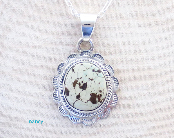 Image 0 of  Small Dry Creek Turquoise & Sterling Silver Pendant Native American - 4167sn