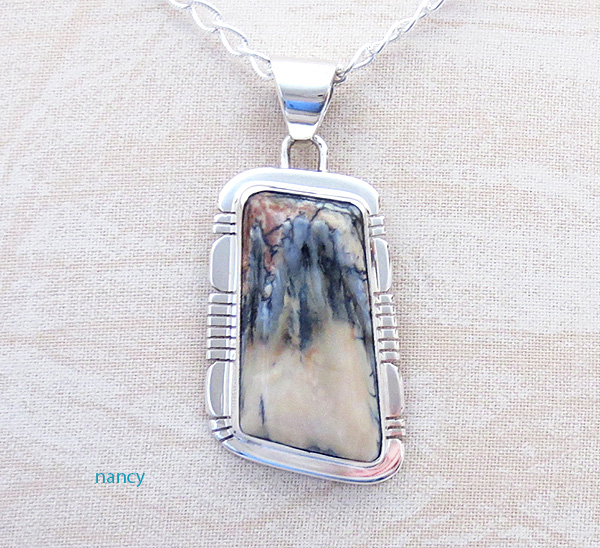 Mammoth Tooth Stone & Sterling Silver Pendant Navajo - 4701sn