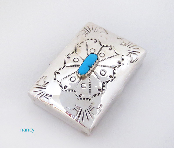Image 0 of    Handcrafted Sterling Silver Pill Box Navajo made - 4269rio