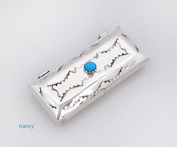 Handcrafted Sterling Silver Pill Box Native American Made - 4604rio