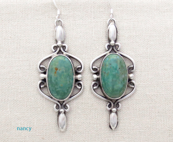 Image 0 of Large Green Turquoise & Sterling Silver Earrings Native American - 4270sw