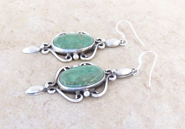 Image 1 of Large Green Turquoise & Sterling Silver Earrings Native American - 4270sw