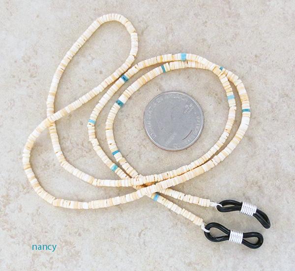 Turquoise & Heishi Eyeglass Chain 25 Long Native American Made - 4507rio