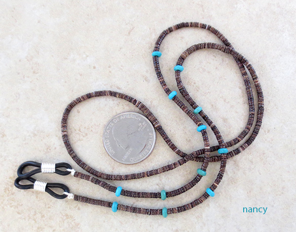 Image 0 of Turquoise & Heishi Eyeglass Chain 26