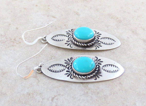 Image 1 of   Turquoise & Sterling Silver Earrings Native American - 4508sw
