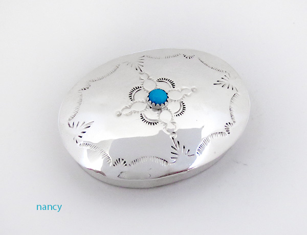 Handcrafted Sterling Silver Pill Box Navajo Made - 4608rio